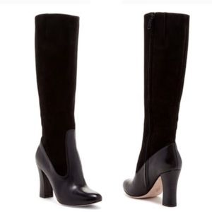 Cole Haan Julian Tall Suede + Leather Heeled Boots